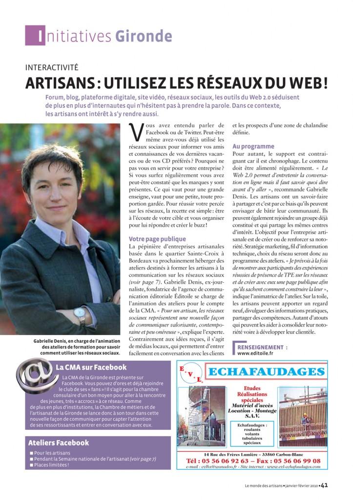 Gabrielle Denis, dans Le Monde des Artisans Gironde